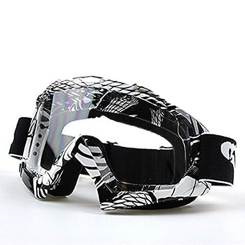 IREALIST Snow Skiing Snowboarding Motocross Anti-Fog Goggles Dustproof Scratch-Resistant Bendable Unisex Goggles (Black--white
