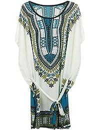 Robe d'Eté Blouse Manches Courtes Chauve-souris Taille Plus Style Bohême Ethnique pour Femme