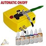 Profi AirBrush Set Carry I Airbrush Mini Kompressor mit mit Airbrush Farben 6er Set für Tattoo und Airbrushpistole Double Action / 0,3mm Nadel/Düse für alle Feinarbeiten zum Kennenlern-Preis!