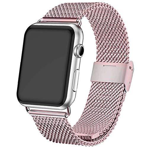INZAKI Correa para Apple Watch 38mm/40mm,Malla de Acero Inoxidable Correa de Bucle para iWatch Serie 4/3/2/1, Sport,Edition,Rosa