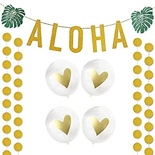 Hawaiian Aloha Party Decorations Large Gold Glittery Aloha Banner For Luau Party Supplies Favors and 4 golden decorative balloons