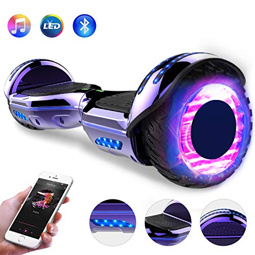 GeekMe 6.5 Zoll Hoverboard Elektro Scooter Self-Balance Board - Bluetooth Lautsprecher - 700W Dual Motor - blinkendes LED-Lichtrad