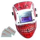 Homyl Solare Autoscurante Caschi Da Saldatura Mascherata Da Saldatore Filtro Auto-oscurabile Scurimento - teschio Rosso, come descritto