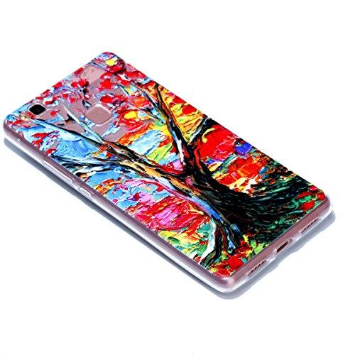 Cover Huawei P9 Lite, Custodia Huawei P9 Lite Cover Trasparente , Cozy Hut Ultra Slim Protective Cover Silicone per Huawei P9 Lite Smartphone, Telefono Cover Sottile Morbido Trasparente Silicone Gel T Albero colorato