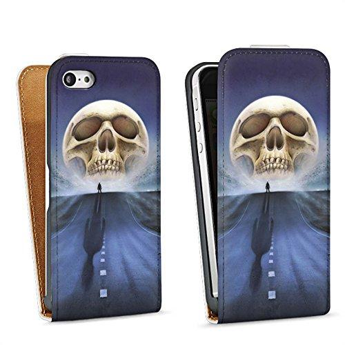 Apple iPhone 5s Housse Étui Protection Coque Rue Tête de mort Crâne Sac Downflip blanc