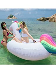Marsoul Flota inflable gigante del resorte del unicornio, piscina inflable lounger, gran piscina de lujo al aire libre juguete flotante del salón Ocean Lilo para los adultos y los cabritos