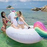 MJFOX Riesiges aufblasbares Einhorn Schwimmtier, Pool Einhorn Luftmatratze, Aufblasbar schwimmen Floß PVC Aufblasbarer Schwebebett für 2-3 Personen, Insel für Pool Luftmatratze XXL Wasserspielzeug