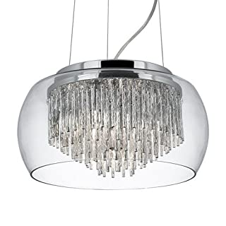 Searchlight 3624-4CC Alera Clear Glass 4 Lamp Pendant Ceiling Light with Aluminium Spiral Tubes