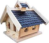Naturholz-Schreinermeister Vogelhaus-XXL mit Holzschindeln und Putzklappe lasiert Vogelhäuser-Vogelfutterhaus großes Vogelhäuschen-aus Holz Wetterschutz (Schwarz)