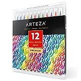 Arteza Pinselstift Set — Hochwertige Brush Pen Fasermaler — Aquarell Pinselstifte auf Wasserbasis — Set mit 12 Verschiedenen Farben