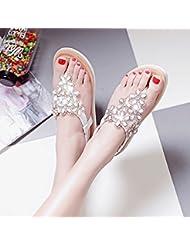 XY&GK Las mujeres sandalias de verano Pendiente con flores de strass mujeres sandalias zapatos con fondo plano Antideslizante bajo la escuela Zapatos Zapatos para mujeres embarazadas 37 blanco