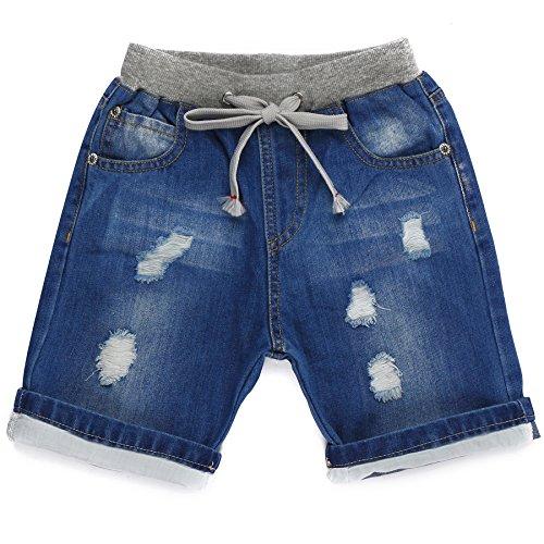 Grandwish pantaloncini jeans denim con strappi per ragazzi 5 anni