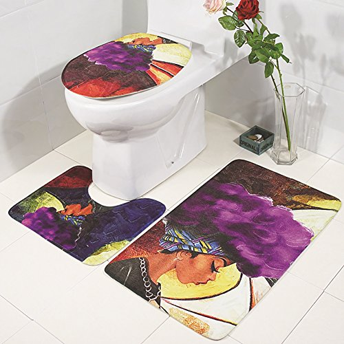 Homeofying 3/Set Fashion Afrikanische Frau WC-Deckelbezug rutschsicheren im Badezimmer Matte Pad Multi
