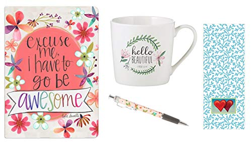 Hello Beautiful Cafe-Tasse, Go Be Awesome Journal, rosa Tintenstift mit Lesezeichen - Bundle