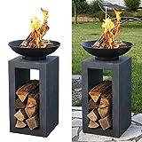 Design-Feuerschale mit Holzablage - 7