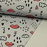 Softshell Stoff Love & rain - Preis Gilt für 0,5 Meter