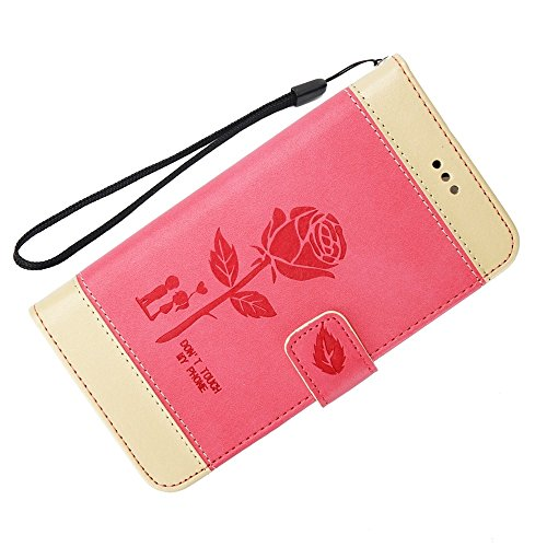EKINHUI Case Cover Dual Color Matching Premium PU Leder Flip Stand Case Cover mit Card Cash Slots und Lanyard für Huawei Hornor 8 ( Color : Gold ) Red