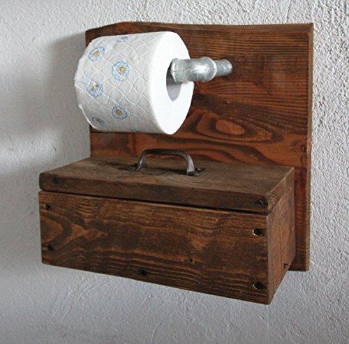 Toilettenpapierhalter Klopapierhalter Box für Feuchttücher Rollenhalter aus Holz braun fertig montiert