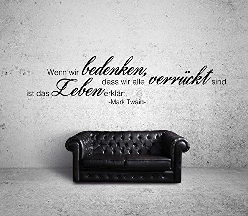 Mark Twain Verrückt Wandtattoo Black Certified Freak