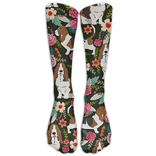 Gorgeous ornaments Basset Hound Dog Compression Socks Long Socks Football Socks Sports Stockings -