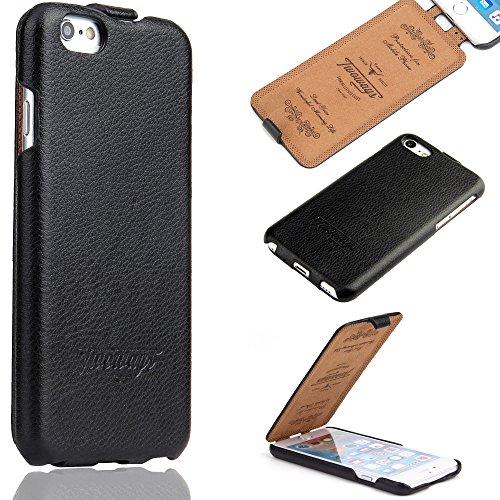 Twoways Hülle kompatibel mit iPhone 6s / 6 - ECHT Leder - HANDGEFERTIGT - RUNDUMSCHUTZ Zubehör Case Etui iPhone Flip Case Schutzhülle - Farbe Schwarz Farbe Flip Case