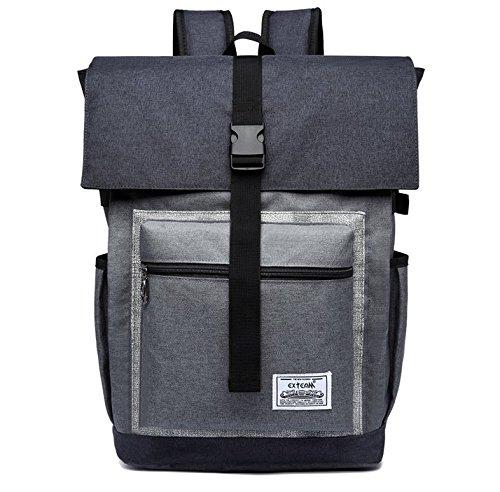 jlyifan Oxford stoßfest Schule Rucksack Reise Tasche für Lenovo Asus HP Acer Dell Samsung MSI 33cm 33,8cm 35,6cm 38,1cm 39,1cm 39,6cm Laptops grau grau (Gesteppte Notebook-tragetasche)