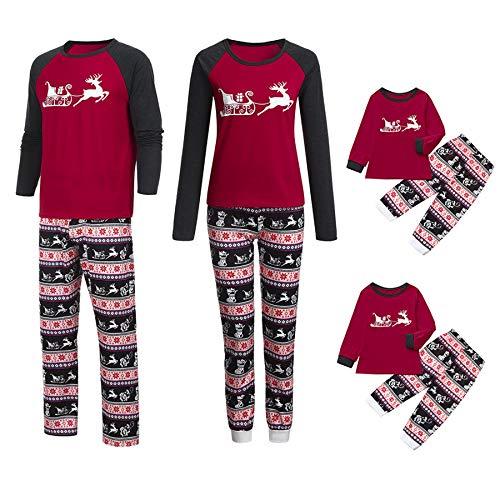 Ansenesna Familien Outfit Pyjama Rot Weihnachten Mutter Vater Kind Baumwolle Elegant Mit Cartoon Weihnachts Kleidung (L, Mama) (Mama Tochter Kostüm)
