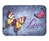 Doormat Butterfly Love Cotton Linen x 23.6 W X 15.7 W Inches