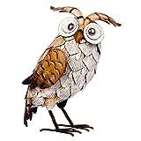 Eule Garten Ornament weiß Vogel Outdoor Dekoration Metall handgefertigt