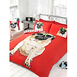 Just contemplo individual Polialgodón carcasa gafas de sol de perro de raza CARLINO con funda de edredón - Juego de cama Reversible de huellas, rojo