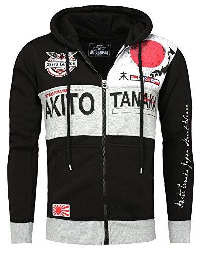 Akito Tanaka Herren Sweatjacke Jacke Weste Zip Pullover Hoodies Sweatshirt Sweater JAPAN mit Kapuze schwarz, Grösse: M (Zip-weste Kapuzen)