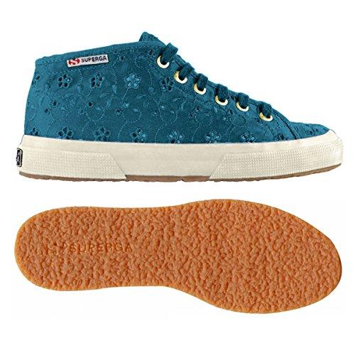 Superga 2754-Sangallosatinw, Sneaker a Collo Alto Donna BLUE OTTANIO