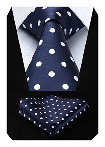 HISDERN Dot Floral Wedding Tie Panuelo para hombres Corbata y bolsillo cuadrado Azul marino / blanco