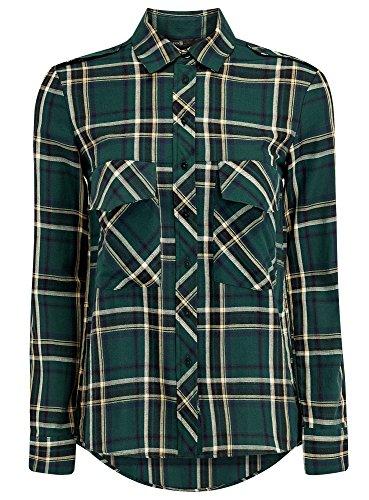 Grün-karo-hose (oodji Ultra Damen Karo-Hemd mit Brusttaschen, Grün, DE 36/EU 38/S)