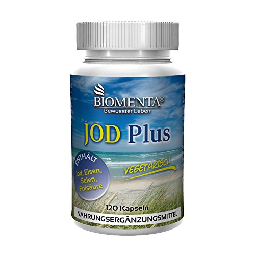 BIOMENTA Jodtabletten   Kaliumiodid + Eisen + Folsäure + Selen   120 vegetarische Jod Tabletten hochdosiert