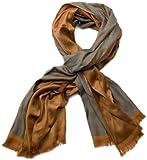 styleBREAKER edler weicher Schal mit Fransen und dezentem Quadrate Muster 01018051 (185 x 60 cm, Braun-Grau)