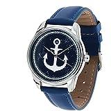 Montre Originale - Bracelet Bleu en Cuir - Marin