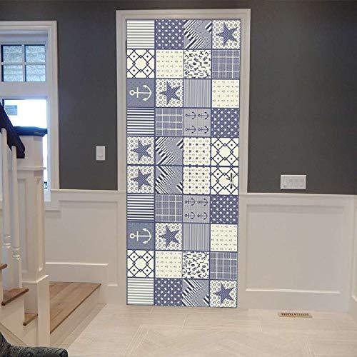 HXLF Türaufkleber Blau Überprüft Geometrie Tür Aufkleber Tapete Wohnzimmer Küche Badezimmertür Wasserdicht Abziehbild Vinyltür Wandbild 77X200CM