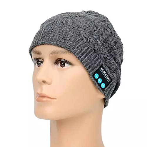 Bluetooth Beanie Hat - Megadream invierno cálido desmontable inalámbrico Bluetooth Auricular Auriculares de música MP3 audio Beanie Hat Cap con manos libres llamada + Mic + respuesta botón + botones de Control de volumen lavable Fitness al aire libre unisex gorro de invierno de punto con ganchillo baggy boina Beanie Cap para dispositivos Bluetooth permiten, 5 colores disponibles, color Grey Music Hat, tamaño For Bluetooth Enable Devices