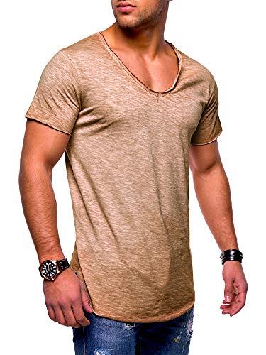 behype. Herren Kurzarm Basic T-Shirt V-Neck Ausschnitt Oversize-Look 20-0002 Beige S -
