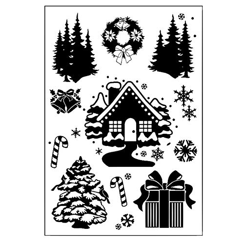 Fansi 1 Set Haus und Baum Metall Stanzschablone Prägeschablone Schablone Scrapbook DIY Album Grußkarte Weihnachten Siegelbasteln Dekoration (Weihnachten Baum Dekorationen)