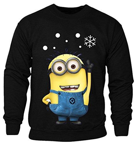 (New Kids Childrens Boys Girls Minions Cartoon Movie Character Christmas Sweatshirt Jumpers 2-14 years (Kids 9-10 Years) Black)