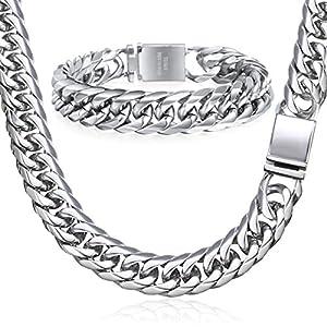 Davieslee 16mm Herren Curb Kubanischen Halskette Armband Schmuck-Set Gold Silber Ton 316L Edelstahl Rombo Link Hip Hop Iced Out Kette 9inch 30inch