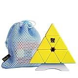 OJIN MoYu Pyramid M Smile Pyraminx Speed Magic Cube Tetrahedron Puzzles sin Etiqueta con Bolsa de Cubo y trípode de un Cubo(Sin Etiquetas)