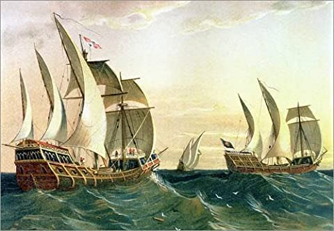 Wood print 100 x 70 cm: The 'Pinta', the 'Nina' and the 'Santa Maria' sailing towards the West Indies in 1492, from The Disc by Spanish School / Bridgeman