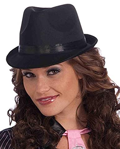 Ladies Adult Costume Black Fedora Hat With Black Band One Size