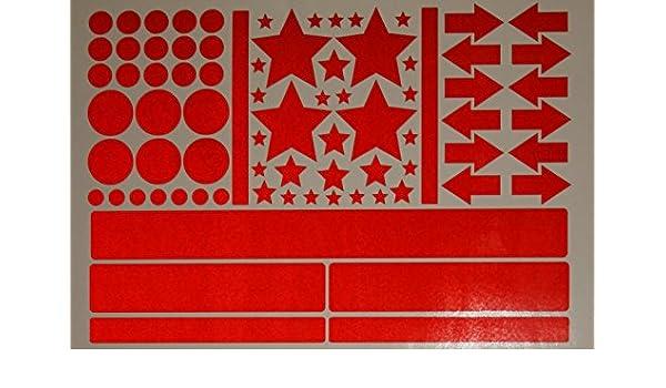 Easydruck24de Aufkleber Set Sterne Kreise Pfeile Streifen I Rot Selbstklebend I Bogen 30 X 20 Cm I Für Fahrrad Helm Auto Kinderwagen Draußen I Reflex 020 Auto