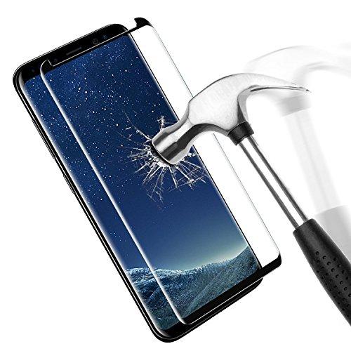 Samsung Galaxy S8 Protection écran en Verre Trempé, Danibos Film de Protection en Verre Trempé 3D Incurvé Couverture complète Glass Screen Protector pour Samsung Galaxy S8 (Noir)
