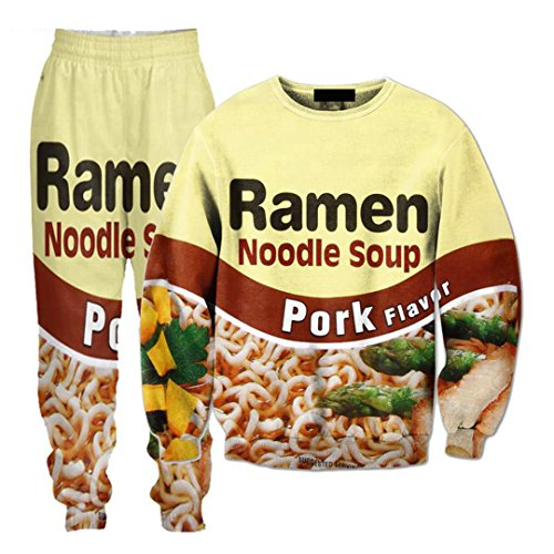 WEPTANSES Hosen Shrimp Ramen Essen 3D Over Print Trainingsanzüge Sweatshirts Hipster Casual Kordelzug Hosen Sportwear Frauen Männer PKTS XXL - Pkt Kordelzug