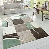 Designer Tappeto Moderno Taglio Sagomato Colori Pastello con Motivo A Quadri in Beige Verde, Dimensione:160x230 cm